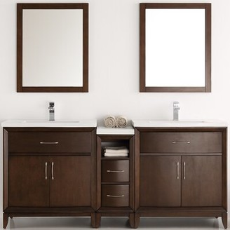 "Cambridge Silversmiths 72"" Double Bathroom Vanity Set with Mirror Fresca Base Finish: Antique Coffee"