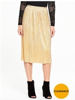 Very Metallic Plisse Midi Skirt