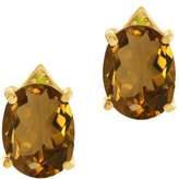 Gem Stone King 4.62 Ct Oval Whiskey Quartz Yellow Simulated Citrine 18K Yellow Gold Earrings