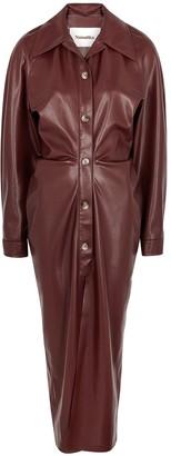 Nanushka Sami Burgundy Faux Leather Shirt Dress