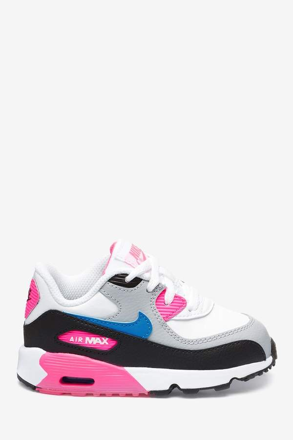 Girls WhitePink Air Max 90 Infant Trainers White
