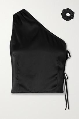 MAISONCLÉO Laura One-shoulder Silk-satin Top - Black