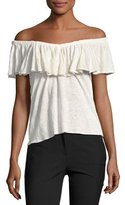 Rebecca Taylor On/Off-The-Shoulder Jersey Top, White