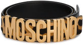 Moschino leopard logo belt - women - Leather/Pony Fur/metal - 65