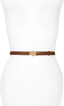 Prada Logo Buckle Saffiano Calfskin Leather Skinny Belt
