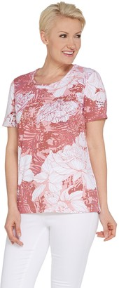 Factory Quacker Short-Sleeve Floral Printed Knit T-Shirt