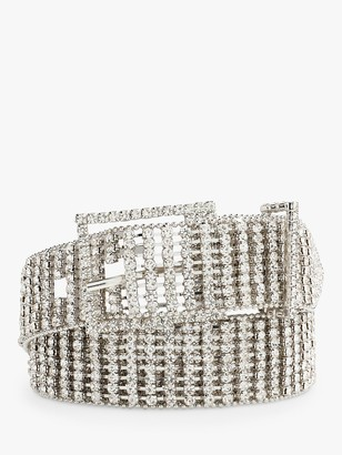 Hush Tia Diamante Belt, Silver/Clear