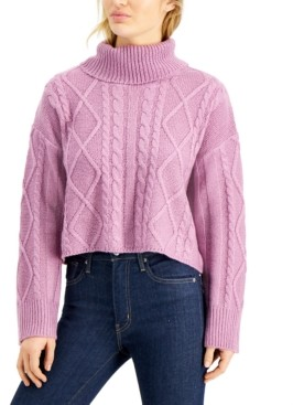 Hooked Up by IOT Juniors' Cowlneck Cable-Knit Sweater