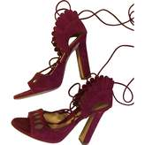Paula Cademartori Burgundy Suede Sandals