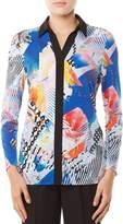 Allison Daley Long Sleeve Contrast Trim Print Blouse