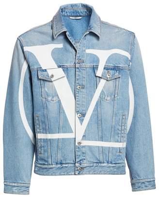 Valentino Long-Sleeve Logo Denim Jacket
