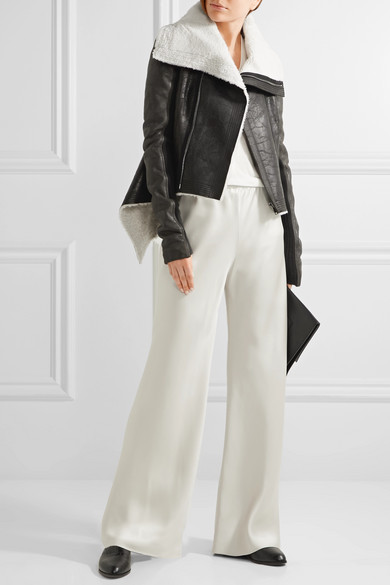 Rick Owens Leather-trimmed Shearling Biker Jacket