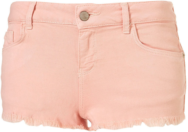 Topshop MOTO Pale Pink Cut Off Shorts