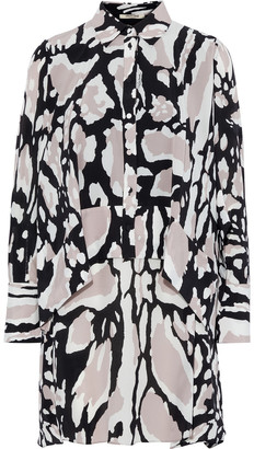 Roberto Cavalli Layered Printed Silk Crepe De Chine Mini Shirt Dress