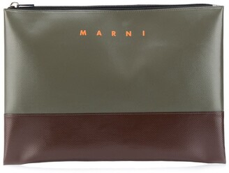 Marni Colour-Block Logo Print Clutch Bag