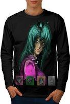 Anime Green Punk Girl Colorful Men L Long Sleeve T-shirt | Wellcoda