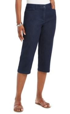 Karen Scott Button-Trim Capri Denim Pants, Created for Macy's