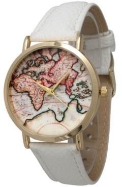 Olivia Pratt World Map Leather Strap Watch