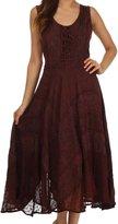 Sakkas 223 Kevina Stonewashed Rayon Embroidered Dress - Grey