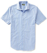 Murano Performance Short-Sleeve Slim-Fit Spread-Collar Check Shirt