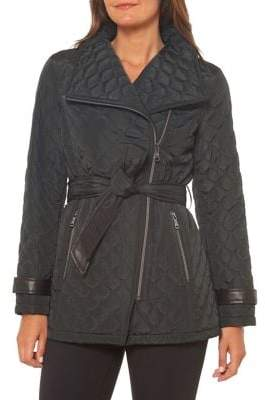 Vince Camuto Quilted Asymmetrical-Zip Jacket