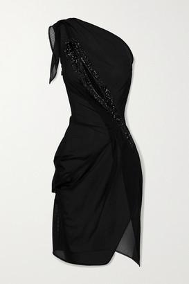 Maticevski Unbound One-shoulder Crystal-embellished Tulle Mini Dress - Black