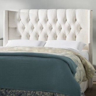 Brayden Studio Hillenbrand Tufted Linen Upholstered Wingback Headboard Size: Twin, Upholstery: Talc