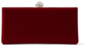Jimmy Choo CELESTE/S Red Velvet Clutch Bag with Crown Clasp