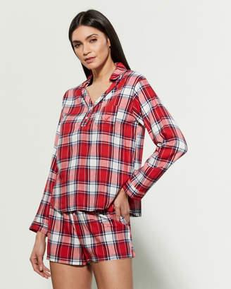 ED Ellen Degeneres Two-Piece Long Sleeve Plaid Top & Shorts Pajama Set