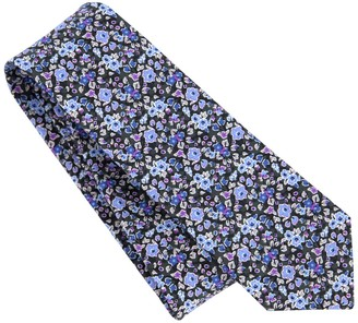 Tie Bar Freesia Floral Charcoal Tie
