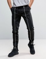 Asos Slim Joggers With Front Zip Detail In Black