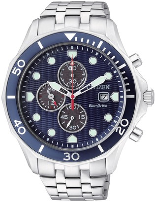 Citizen Men's Eco-Drive Stainless Blue Chronograph Dial Date Watch, 44mm