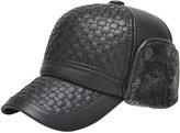 Feoya Fall Winter Men's Faux Leather Baseball Cap Fleece Warm Hat with Ear Flaps