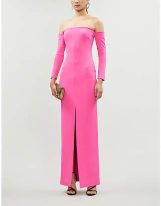 SOLACE London Odine off-the-shoulder stretch-ponté maxi dress