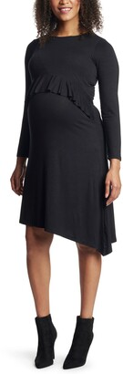 Everly Grey Melissa Long Sleeve Peplum Maternity/Nursing Dress