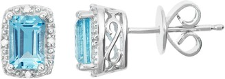 Sterling Silver Blue Topaz & Diamond Accent Rectangle Halo Stud Earrings