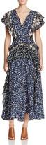 Rebecca Taylor Ruffled Floral Silk Maxi Dress