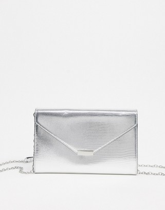 Aldo fold over clutch bag in silver