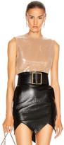 David Koma Sequin Layer Crop Top in Nude | FWRD