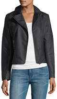 Brandon Thomas Studded-Trim Faux-Leather Moto Jacket