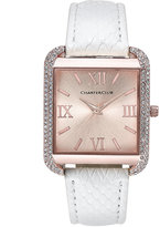 Charter Club Women's Rose Gold-Tone White Faux Leather Bracelet Watch 32mm, Only at Macy's