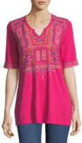 Johnny Was Annika Boho Knit Tunic w/ Embroidery, Plus Size