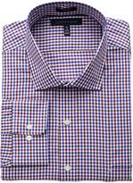 Tommy Hilfiger Men's Big and Tall Non Iron Fit Check Spread Collar Dress Shirt, Rouge