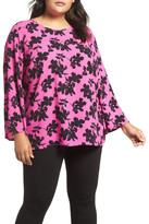 Vince Camuto Small Fresco Blooms Bell Sleeve Blouse (Plus Size)
