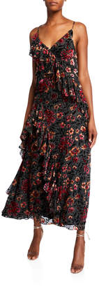 Jill Stuart Dalia Floral Flocked V-Neck Sleeveless Ruffle-Trim Gown