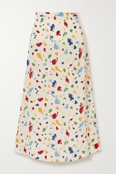 Reformation Bea Printed Crepe Midi Skirt - Ecru