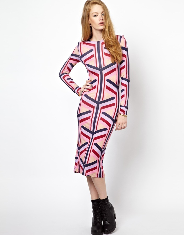 House of Holland Long Sleeve Dress in Y Print - Pink