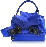 N°21 Bluette Satin Micro Crossbody Bag w/Iconic Bow On Front and Black Crystals