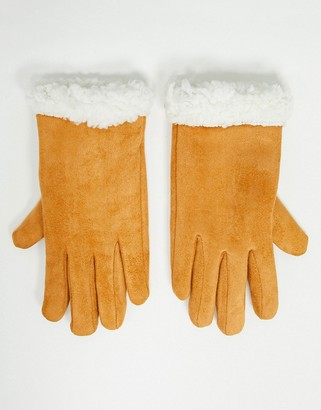 SVNX leather look gloves with borg trim in pumpkin spice