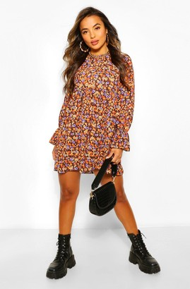boohoo Petite Floral Long Sleeve Smock Dress